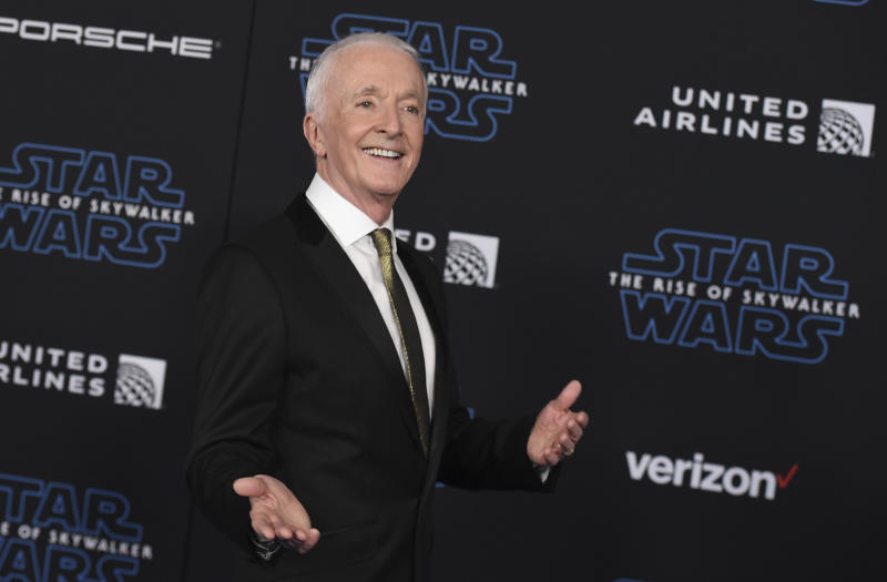 """Anthony Daniels arrives at the world premiere of """"Star Wars: The Rise of Skywalker"""" on Monday, Dec. 16, 2019, in Los Angeles (Jordan Strauss/Invision/AP)"""