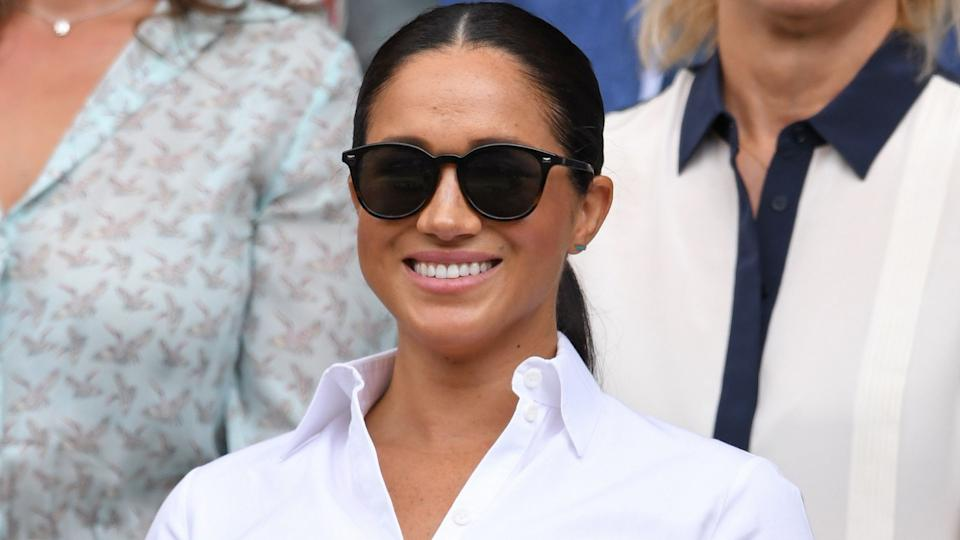 Meghan, Duchess of Sussex wearing Le Specs Bandwagon sunglasses (Images via Getty Images)