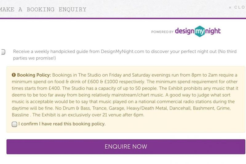 Booking policy: The message warned the venue will exclude some music genres. (@bieneosa)