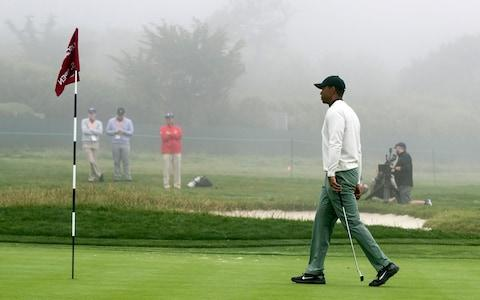 <span>Tiger Woods practising on the green of the 14th hole </span> <span>Credit: REX </span>