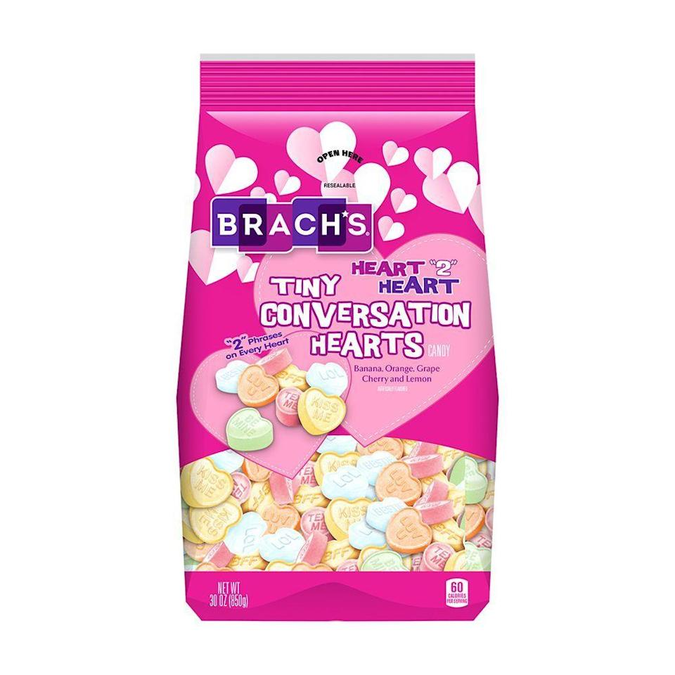 """<p><strong>Brach's</strong></p><p>amazon.com</p><p><strong>$16.90</strong></p><p><a href=""""https://www.amazon.com/dp/B01A2O6AGQ?tag=syn-yahoo-20&ascsubtag=%5Bartid%7C2089.g.904%5Bsrc%7Cyahoo-us"""" rel=""""nofollow noopener"""" target=""""_blank"""" data-ylk=""""slk:Shop Now"""" class=""""link rapid-noclick-resp"""">Shop Now</a></p><p>You really can't beat the classics, and these cheeky conversation hearts will take you right back to elementary school nostalgia. Now you'll just have to muster up the courage to finally text your dreamy crush.</p><p><strong>More: </strong><a href=""""https://www.bestproducts.com/lifestyle/g25605800/top-valentines-day-gifts/"""" rel=""""nofollow noopener"""" target=""""_blank"""" data-ylk=""""slk:Valentine's Day Gift Ideas to Wow Your Sweetheart"""" class=""""link rapid-noclick-resp"""">Valentine's Day Gift Ideas to Wow Your Sweetheart</a></p>"""