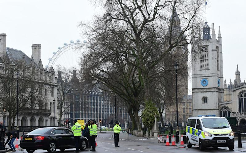 Police cordon in Westminster the day after the terror attack - Credit: Geoff Pugh for the Telegraph