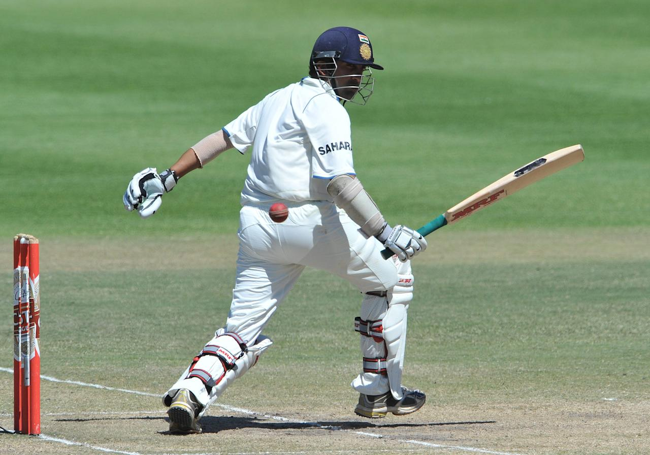 CAPE TOWN, SOUTH AFRICA - JANUARY 06: Gautam Gambhir of India fends off a delivery during day 5 of the 3rd Test match between South Africa and India at Newlands Stadium on January 06, 2011 in Cape Town, South Africa. (Photo by Duif du Toit/Gallo Images/Getty Images)