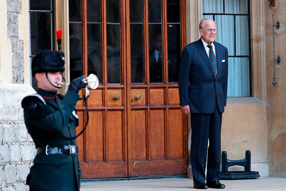 The Duke of Edinburgh listens to buglers during the transfer of the Colonel-in-Chief of The Rifles at Windsor castle in Windsor on July 22, 2020. (Photo: ADRIAN DENNIS via Getty Images)