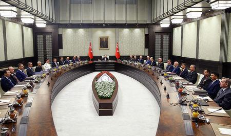 Turkish President Tayyip Erdogan chairs a National Security Council meeting in Ankara, Turkey, September 22, 2017. Kayhan Ozer/Presidential Palace/Handout via REUTERS ATTENTION EDITORS - THIS IMAGE HAS BEEN SUPPLIED BY A THIRD PARTY. NO RESALES. NO ARCHIVES