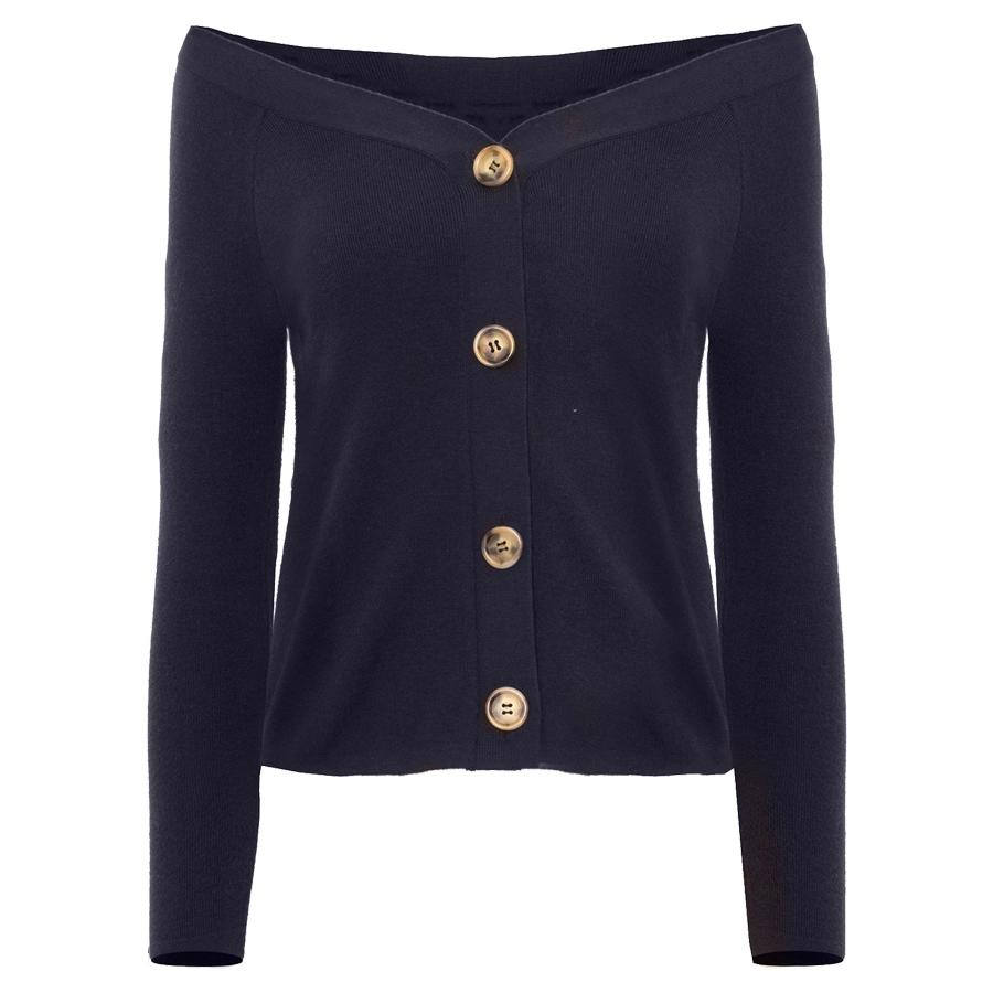 """<p>Pixie Market is giving us a modern update with this off-the-should button-up sweater.</p><p>Buy it <a rel=""""nofollow"""" href=""""http://www.anrdoezrs.net/links/7799179/type/dlg/sid/IS%2CFAS%2CGAL%2CMr.RogersCardigansAreBack%2Cparentea%2C201801%2CT/https%3A//www.pixiemarket.com/collections/tops/products/owen-off-the-shoulder-button-cardigan"""">here</a> for $88.</p>"""