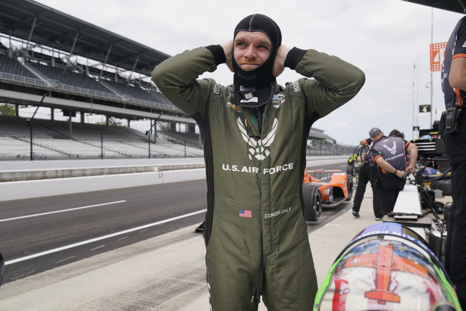 Conor Daly prepares to drive during a practice session for the Indianapolis 500 auto race at Indianapolis Motor Speedway, Thursday, Aug. 13, 2020, in Indianapolis. (AP Photo/Darron Cummings)