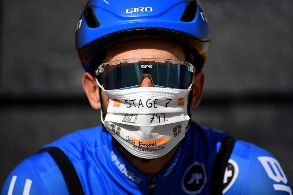 VILLANUEVA DE VALDEGOVIA SPAIN  OCTOBER 27 Start  Carlos Barbero Cuesta of Spain and NTT Pro Cycling Team  VitoriaGasteiz  Team Presentation  Mask  Covid Safety Measures  during the 75th Tour of Spain 2020 Stage 7 a 1597km from VitoriaGasteiz to Villanueva de Valdegovia  lavuelta  LaVuelta20  La Vuelta  on October 27 2020 in Villanueva de Valdegovia Spain Photo by Justin SetterfieldGetty Images
