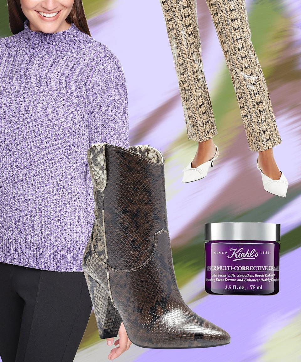 """Soften up a pair of faux snakeskin pants by styling it with a cozy sweater — this one has romantic blouson sleeves and a lilac hue that goes perfectly with the neutral tones of the trouser. And the color trend doesn't have to stop there when your face and neck cream coincidentally (or not) comes in a deep purple jar.<br><br><strong>Calvin Klein</strong> Marled Blouson-Sleeve Sweater, $, available at <a href=""""https://go.skimresources.com/?id=30283X879131&url=https%3A%2F%2Fwww.macys.com%2Fshop%2Fproduct%2Fcalvin-klein-marled-blouson-sleeve-sweater%3FID%3D11308313%26CategoryID%3D260"""" rel=""""nofollow noopener"""" target=""""_blank"""" data-ylk=""""slk:Macy's"""" class=""""link rapid-noclick-resp"""">Macy's</a><br><br><strong>Danielle Bernstein</strong> Faux-Snakeskin Pants, $, available at <a href=""""https://go.skimresources.com/?id=30283X879131&url=https%3A%2F%2Fwww.macys.com%2Fshop%2Fproduct%2Fdanielle-bernstein-faux-snakeskin-pants-created-for-macys%3FID%3D11268409%26CategoryID%3D157%26swatchColor%3DSnakeskin%2520Neutral"""" rel=""""nofollow noopener"""" target=""""_blank"""" data-ylk=""""slk:Macy's"""" class=""""link rapid-noclick-resp"""">Macy's</a><br><br><strong>INC International Concepts</strong> Bevie Booties, $, available at <a href=""""https://go.skimresources.com/?id=30283X879131&url=https%3A%2F%2Fwww.macys.com%2Fshop%2Fproduct%2Fi.n.c.-womens-bevie-booties-created-for-macys%3FID%3D11174856%26CategoryID%3D25122"""" rel=""""nofollow noopener"""" target=""""_blank"""" data-ylk=""""slk:Macy's"""" class=""""link rapid-noclick-resp"""">Macy's</a><br><br><strong>Kiehl's Since 1851</strong> Super Multi-Corrective Anti-Aging Face and Neck Cream, $, available at <a href=""""https://go.skimresources.com/?id=30283X879131&url=https%3A%2F%2Fwww.macys.com%2Fshop%2Fproduct%2Fkiehls-since-1851-super-multi-corrective-anti-aging-face-neck-cream-2.5-oz.%3FID%3D11142753%26CategoryID%3D30078"""" rel=""""nofollow noopener"""" target=""""_blank"""" data-ylk=""""slk:Macy's"""" class=""""link rapid-noclick-resp"""">Macy's</a>"""