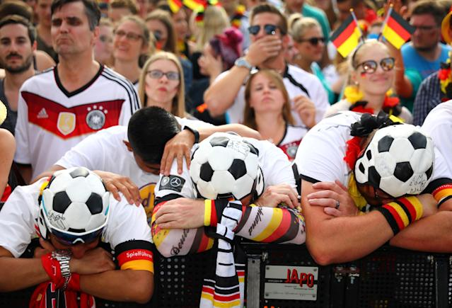 Germany fans react to their nation's 2018 World Cup elimination. (Reuters)