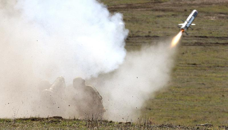Australian Army soldiers fire a Javelin anti-armour missile, the same kind bought from the US by Ukraine, at a target during a training exercise at in 2008