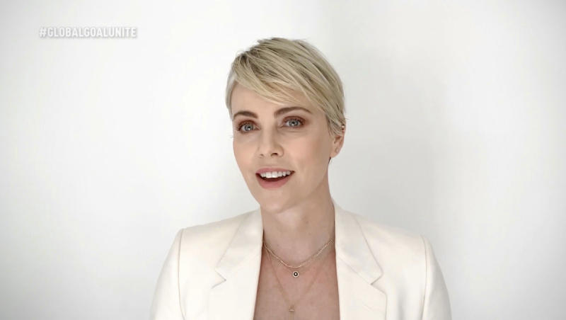 UNSPECIFIED - JUNE 27: In this screengrab, Charlize Theron speaks during the Global Goal: Unite For Our Future - Summit & Concert on June 27, 2020 in UNSPECIFIED, United States. (Photo by Getty Images/Getty Images for Global Citizen)