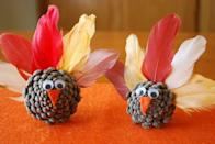 """<p>It just wouldn't be Thanksgiving without a pinecone turkey craft, and this one is easy enough that kids can make it on their own without help from the grown-ups.</p><p><strong>Get the tutorial at <a href=""""https://apumpkinandaprincess.com/pinecone-turkeys/"""" rel=""""nofollow noopener"""" target=""""_blank"""" data-ylk=""""slk:A Pumpkin and a Princess"""" class=""""link rapid-noclick-resp"""">A Pumpkin and a Princess</a>.</strong></p><p><a class=""""link rapid-noclick-resp"""" href=""""https://www.amazon.com/Best-Sellers-Arts-Crafts-Sewing-Craft-Feathers-Boas/zgbs/arts-crafts/8090826011?tag=syn-yahoo-20&ascsubtag=%5Bartid%7C10050.g.1201%5Bsrc%7Cyahoo-us"""" rel=""""nofollow noopener"""" target=""""_blank"""" data-ylk=""""slk:SHOP FEATHERS"""">SHOP FEATHERS</a><br></p>"""