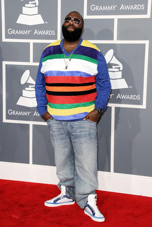 LOS ANGELES, CA - FEBRUARY 12: Rapper/producer Rick Ross arrives at the 54th Annual GRAMMY Awards held at Staples Center on February 12, 2012 in Los Angeles, California.  (Photo by Jason Merritt/Getty Images)