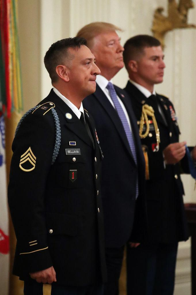 WASHINGTON, DC - JUNE 25: U.S. President Donald Trump awards the Medal of Honor the U.S. Army Staff Sgt. David Bellavia Ret., during a ceremony in the East Room at the White House, on June 25, 2019 in Washington, DC. Staff Sgt. Bellavia is receiving the nation's highest military honor for his heroism for rescuing his squad and clearing out a house full of Iraqi insurgents during the Second Battle of Fallujah in Iraq in 2004. (Photo by Mark Wilson/Getty Images) | Mark Wilson—Getty Images