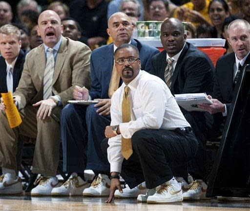 Missouri head coach Frank Haith watches action during the first half of an NCAA college basketball game against Vanderbilt on Saturday, Jan. 26, 2013, in Columbia, Mo. Missouri won the game 81-59. (AP Photo/L.G. Patterson)