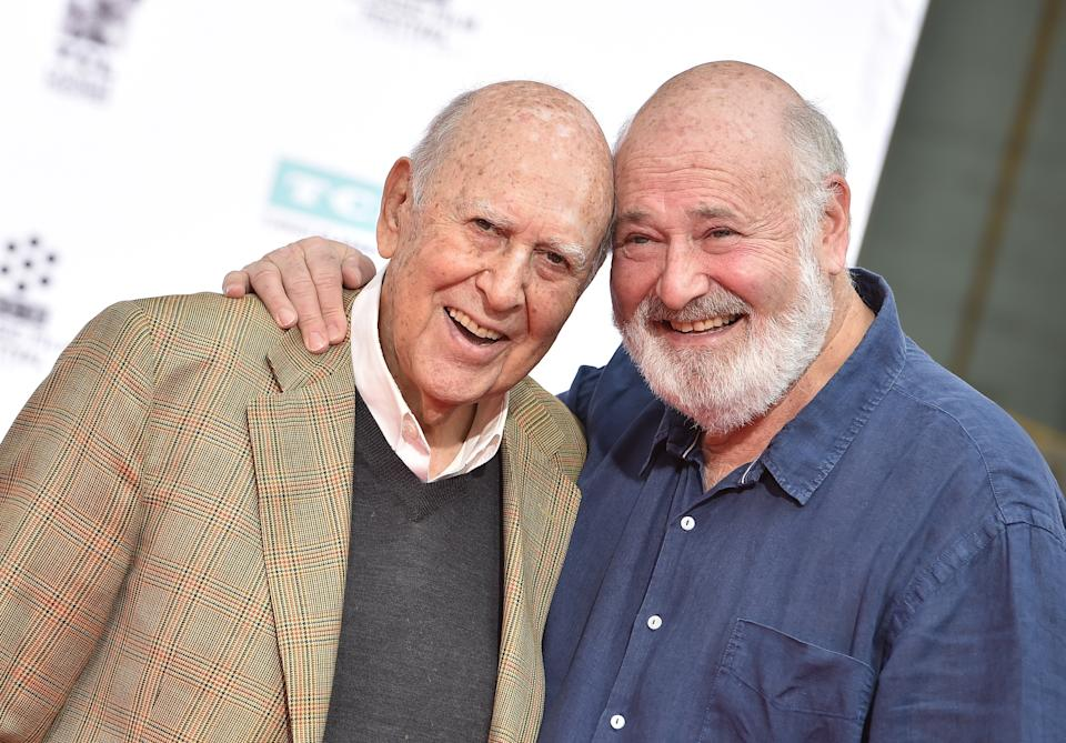 Carl Reiner and Rob Reiner are honored with Hand and Footprint Ceremony, part of the 2017 TCM Classic Film Festival at TCL Chinese Theatre IMAX on April 7, 2017 in Hollywood, California.  (Photo by Axelle/Bauer-Griffin/FilmMagic)