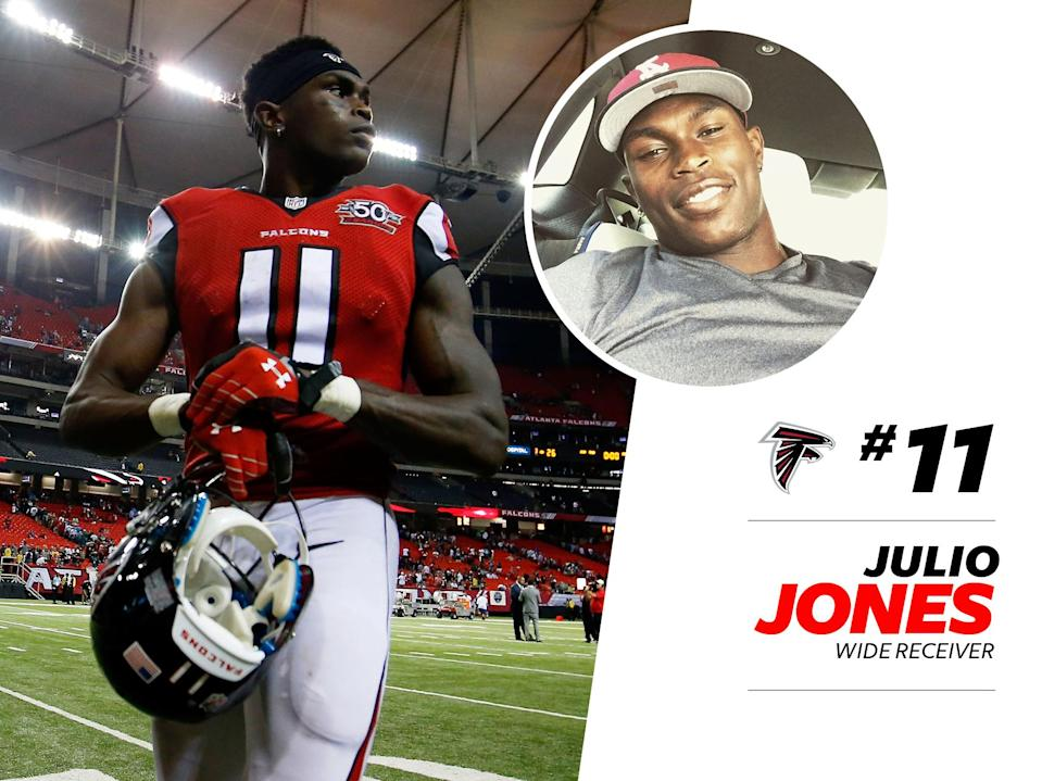 """<p>Falcons wide receiver Julio Jones's loungewear game is legendary, as seen on this <a href=""""https://www.instagram.com/p/BB1KZjxA-Dy/?taken-by=juliojones_11&hl=en"""" rel=""""nofollow noopener"""" target=""""_blank"""" data-ylk=""""slk:Instagram post"""" class=""""link rapid-noclick-resp"""">Instagram post</a> of him wearing a checkered """"groutfit"""" (for the uninitiated, that's an all gray outfit.) We also love <a href=""""https://www.instagram.com/p/1Hv5QYg-Gf/?taken-by=juliojones_11&hl=en"""" rel=""""nofollow noopener"""" target=""""_blank"""" data-ylk=""""slk:this running of the bulls print"""" class=""""link rapid-noclick-resp"""">this running of the bulls print</a> sweatshirt he wore last year. </p>"""
