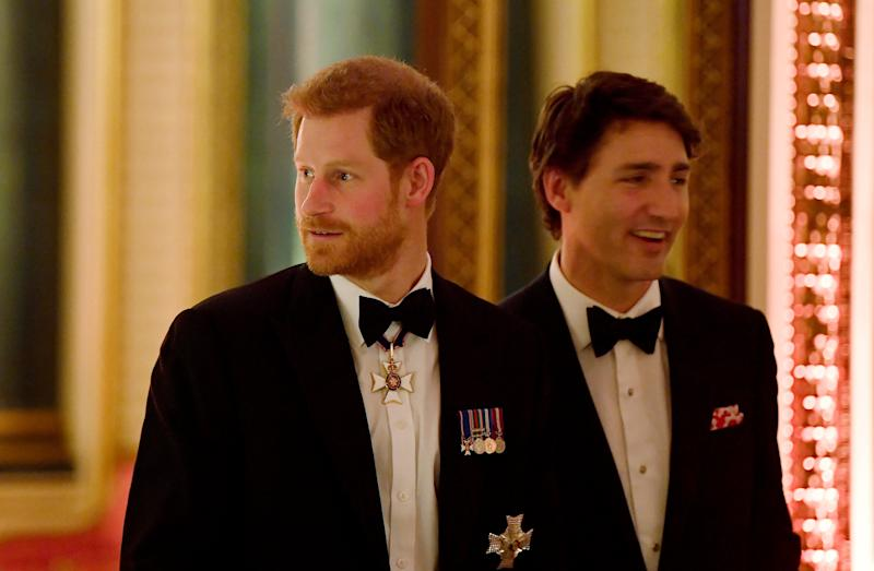 0ONDON, ENGLAND - APRIL 19: Prince Harry (L) and Canada's Prime Minister Justin Trudeau arrive to The Queen's Dinner during the Commonwealth Heads of Government Meeting (CHOGM) at Buckingham Palace on April 19, 2018 in London, England. (Photo by Toby Melville - WPA Pool/Getty Images)