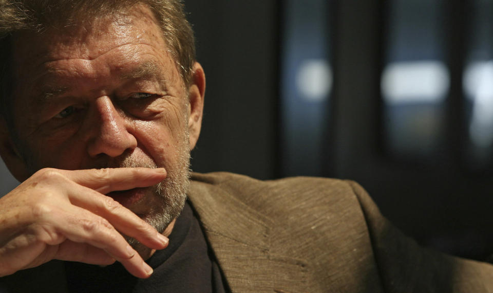 FILE - In this June 5, 2007 file photo, Pete Hamill responds during an interview at the Skylight Diner in New York. The longtime New York City newspaper columnist and author has died. His brother Denis Hamill said Pete died Wednesday, Aug. 5, 2020 in Brooklyn. (AP Photo/Bebeto Matthews, File)