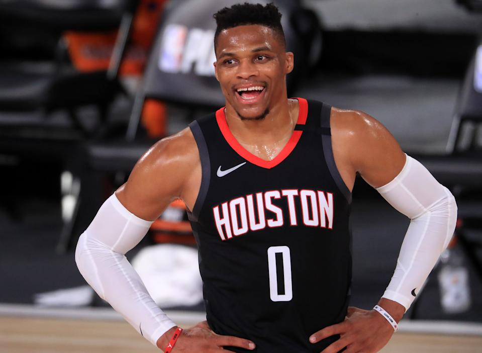 Russell Westbrook reportedly wants off the Houston Rockets. (Mike Ehrmann/Getty Images)