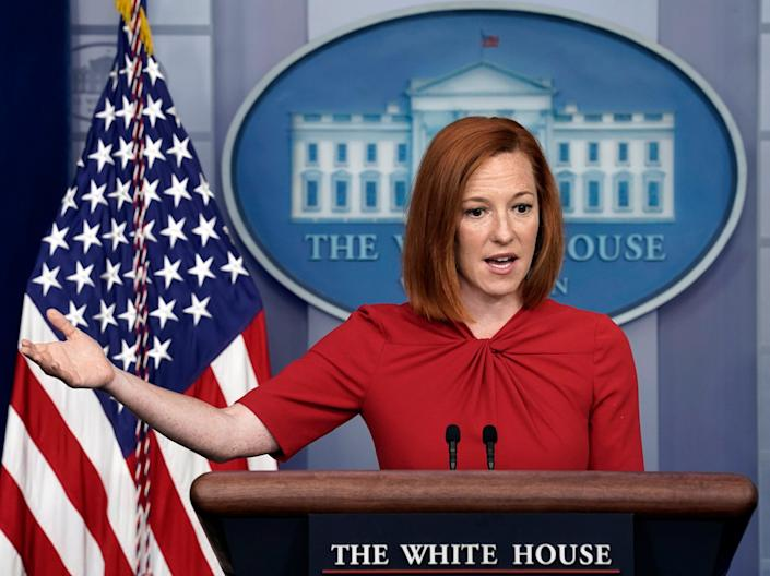 White House Press Secretary Jen Psaki speaks during a daily press briefing at the White House in Washington, DC, USA, 19 July 2021 (EPA)