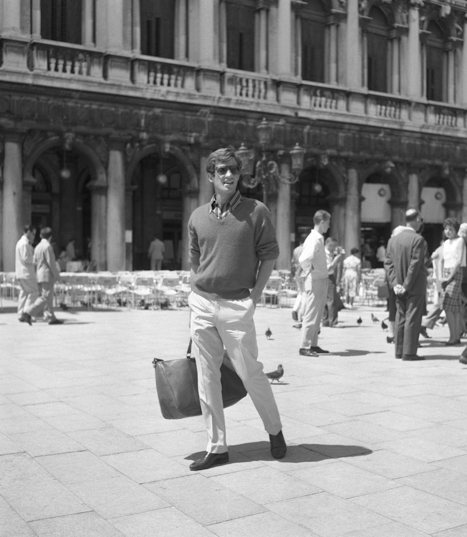 <p>Hanging out in St Mark's Square, Venice, in 1960 </p>