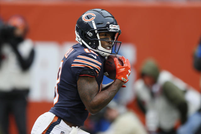 Chicago Bears wide receiver Taylor Gabriel catches a 24-yard touchdown reception against the Detroit Lions during the second half of an NFL football game in Chicago, Sunday, Nov. 10, 2019. (AP Photo/Charlie Neibergall)