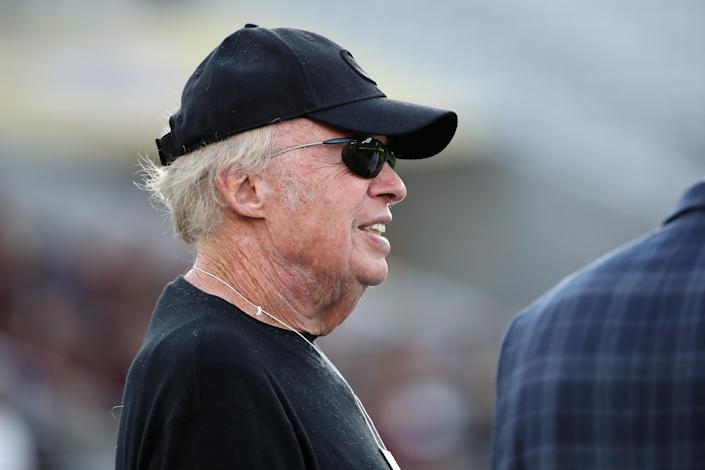 TEMPE, ARIZONA - NOVEMBER 23: Founder and current chairman emeritus of Nike, Inc Phil Knight stands on the sidelines before the NCAAF game between the Oregon Ducks and the Arizona State Sun Devils at Sun Devil Stadium on November 23, 2019 in Tempe, Arizona. (Photo by Christian Petersen/Getty Images)