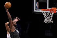 Brooklyn Nets forward Jeff Green (8) prepares to dunk the ball during the first quarter of an NBA basketball game Phoenix Suns, Sunday, April 25, 2021, in New York. (AP Photo/Kathy Willens)