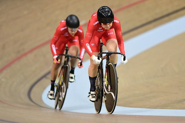 Wei Zhuang and Linyin Zhang of China ride in the Womens Team Sprint Qualifying