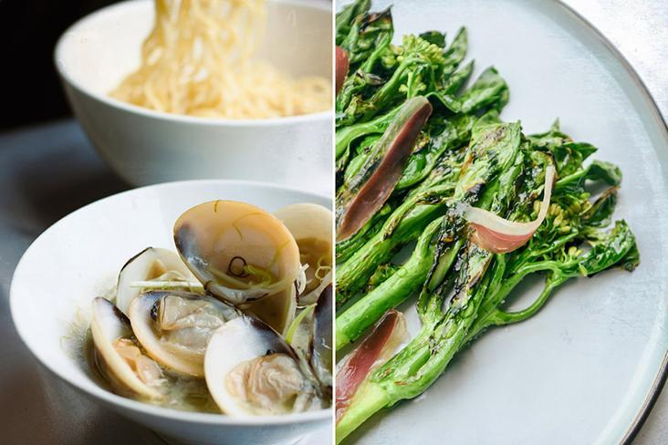 Clams with chrysanthemum oil and Chinese rose wine (left). Grilled 'kailan' with 'kelulut' honey and 32-day aged preserved duck ham (right).