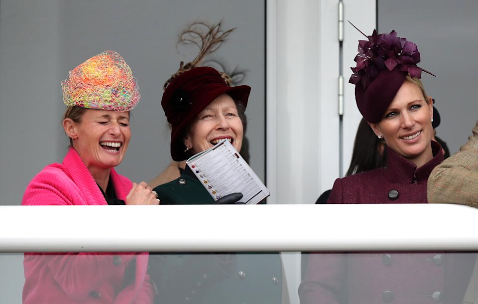 Dolly Maude (left), The Princess Royal and Zara Tindall watch the race action during Ladies Day of the 2019 Cheltenham Festival at Cheltenham Racecourse. (Photo by Andrew Matthews/PA Images via Getty Images)