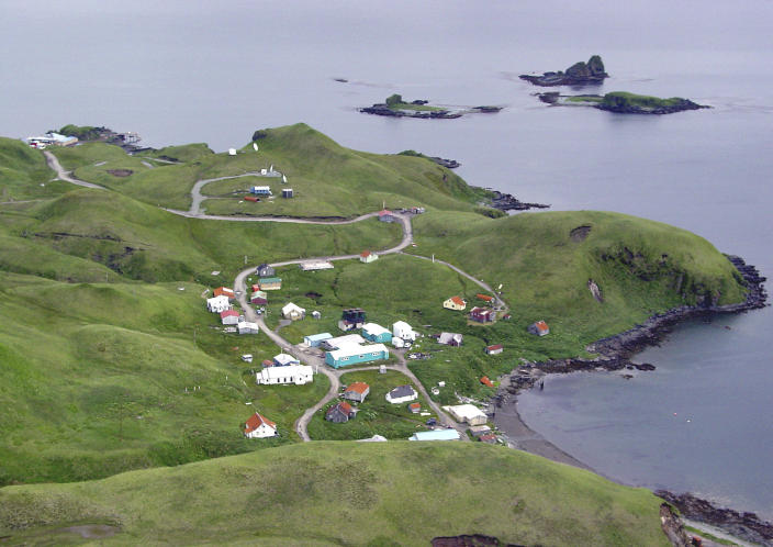 This July 19, 2004 photo released by the Alaska Volcano Observatory/U.S. Geological Survey shows the village of Atka on Atka Island, Alaska. Officials say a magnitude 7.0 earthquake has rocked Alaska's Aleutian Islands with a jet-like rumble that shook homes and sent residents scrambling for cover. There are no immediate reports of damage or injuries from the major temblor at 8:25 a.m. Friday, local time. It was followed by multiple aftershocks, including one measuring magnitude 4.5. (AP Photo/Alaska Volcano Observatory/U.S. Geological Survey, Robert McGimsey)