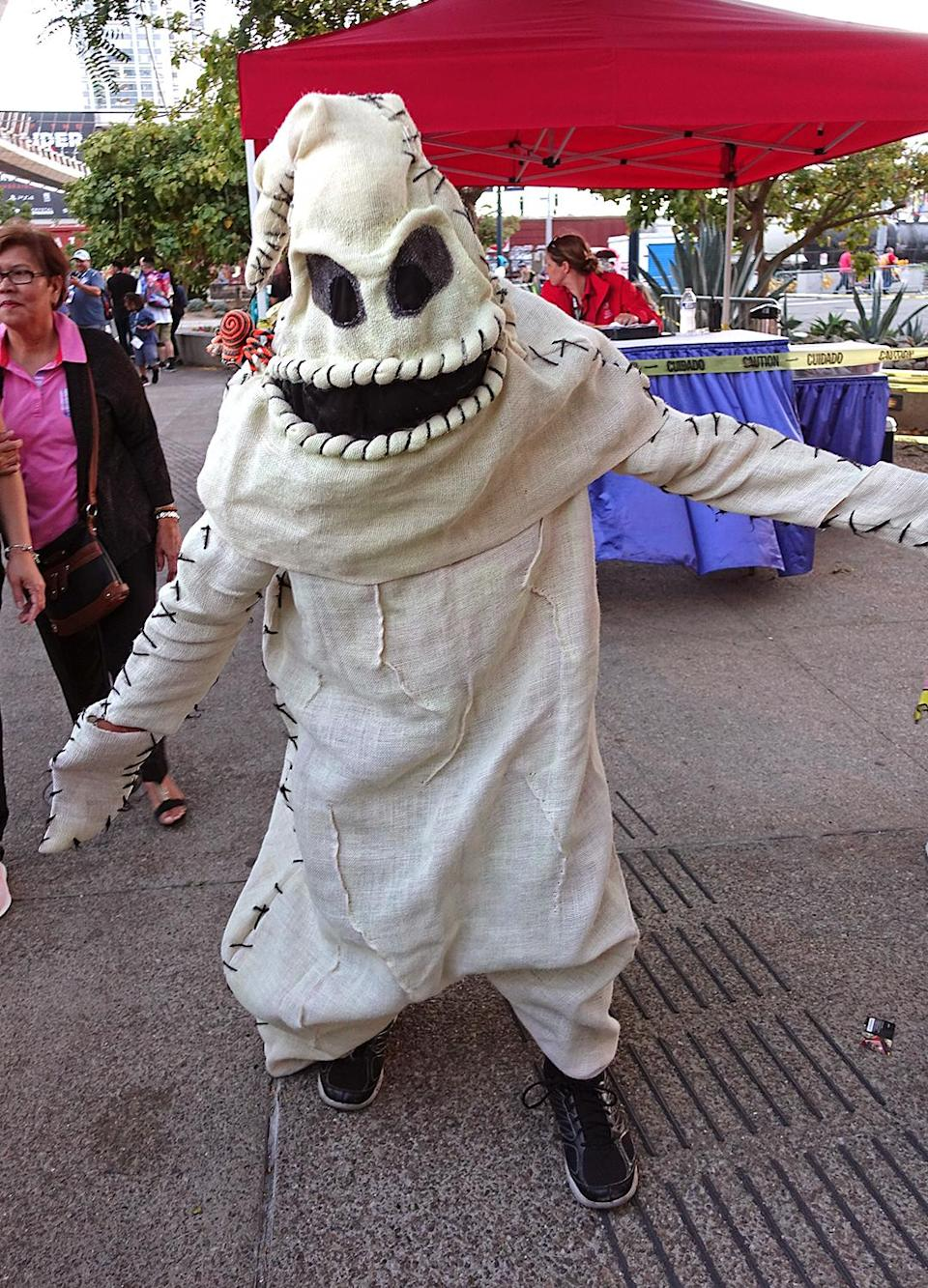 <p>Cosplayer dressed as Oogie Boogie at Comic-Con International on July 21, 2018, in San Diego. (Photo: Angela Kim/Yahoo Entertainment) </p>