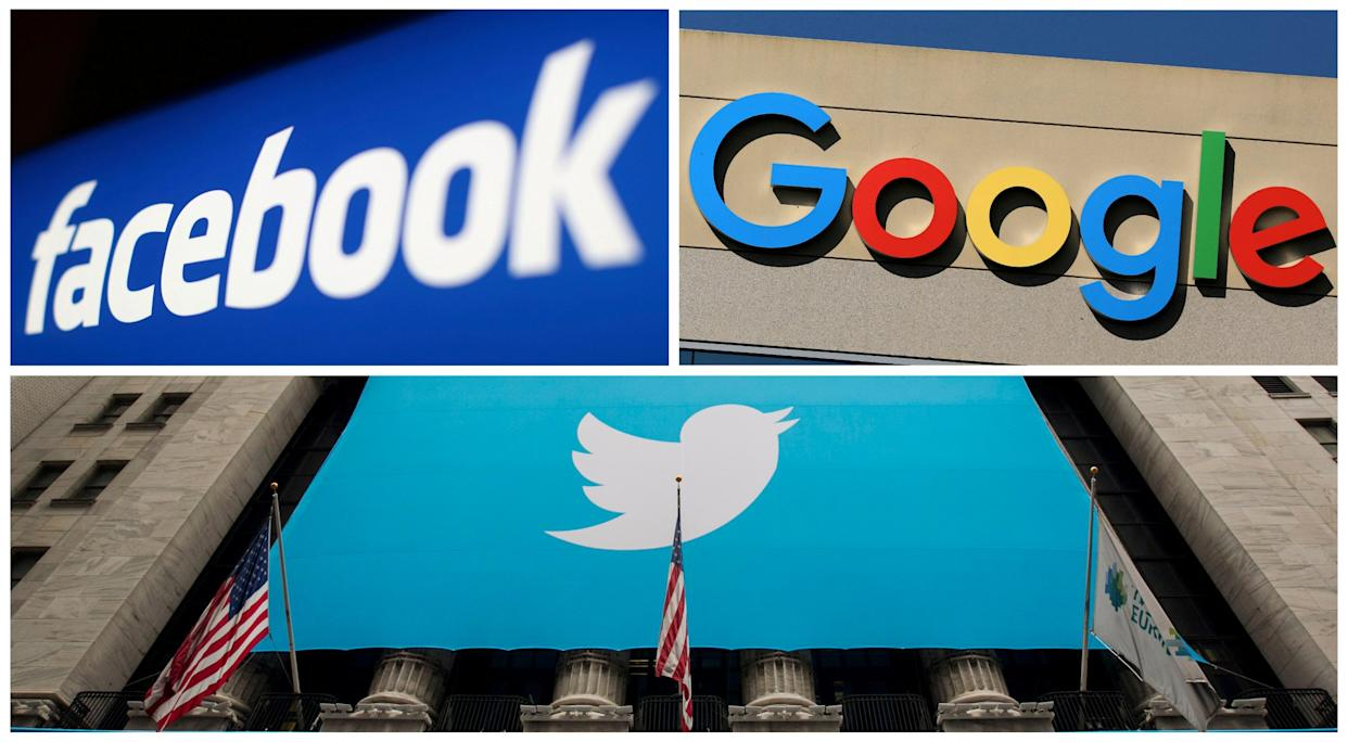 FILE PHOTO: Facebook, Google and Twitter logos are seen in this combination photo from Reuters files. REUTERS/File Photos/File Photo