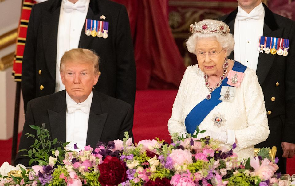 LONDON, ENGLAND - JUNE 03: U.S. President Donald Trump listens as Queen Elizabeth II makes a speech during a State Banquet at Buckingham Palace on June 3, 2019 in London, England. President Trump's three-day state visit will include lunch with the Queen, and a State Banquet at Buckingham Palace, as well as business meetings with the Prime Minister and the Duke of York, before travelling to Portsmouth to mark the 75th anniversary of the D-Day landings.  (Photo by Dominic Lipinski- WPA Pool/Getty Images)