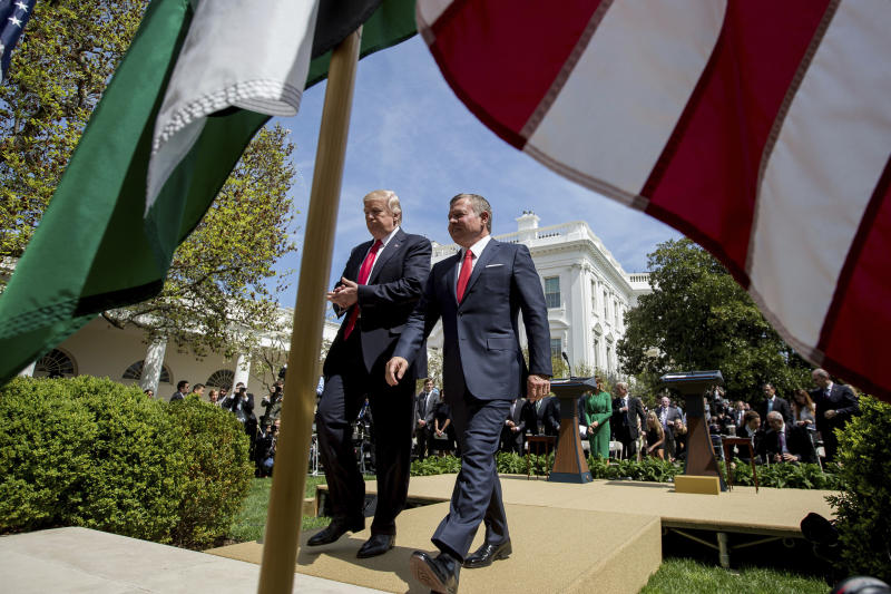 President Donald Trump and Jordan's King Abdullah II leave their news conference in the Rose Garden of the White House in Washington, Wednesday, April 5, 2017. (AP Photo/Andrew Harnik)