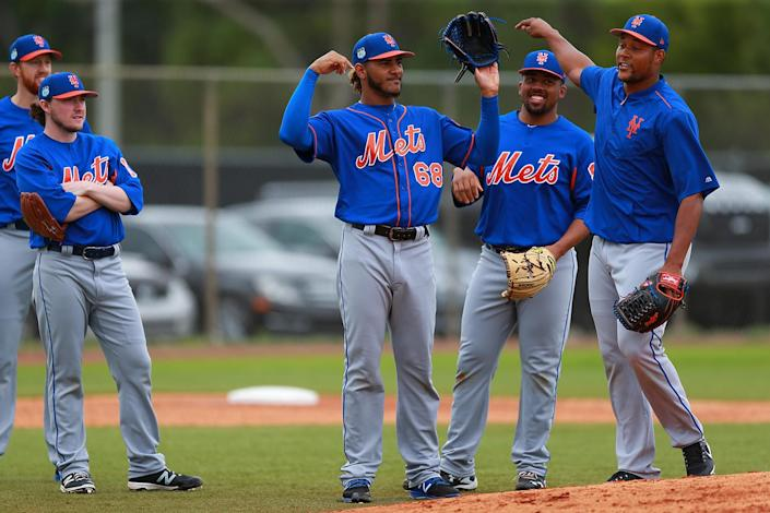 <p>New York Mets pitching prospect Marcos Molina is the winner in morning drills at the Mets spring training facility at First Data Field in Port St. Lucie, Fla., Tuesday, Feb. 28, 2017. (Gordon Donovan/Yahoo Sports) </p>