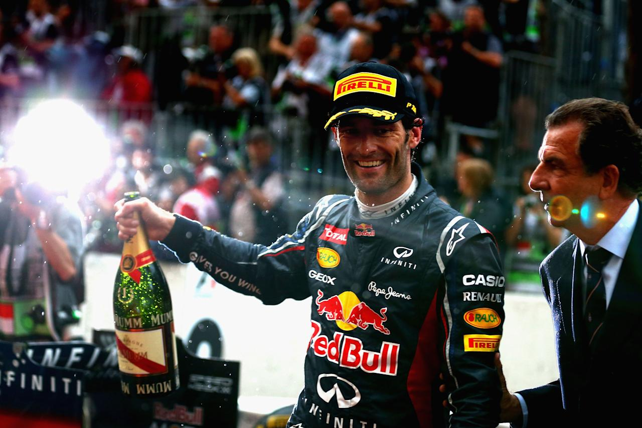 MONTE CARLO, MONACO - MAY 27:  Mark Webber of Australia and Red Bull Racing celebrates winning the Monaco Formula One Grand Prix at the Circuit de Monaco on May 27, 2012 in Monte Carlo, Monaco.  (Photo by Clive Mason/Getty Images)