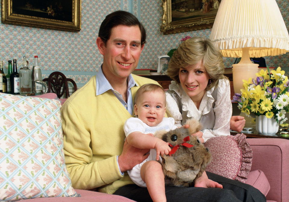 LONDON, UNITED KINGDOM - FEBRUARY 01:  The Prince And Princess Of Wales Holding Their Baby Son, Prince William, At Home In Kensington Palace  (Photo by Tim Graham Photo Library via Getty Images)