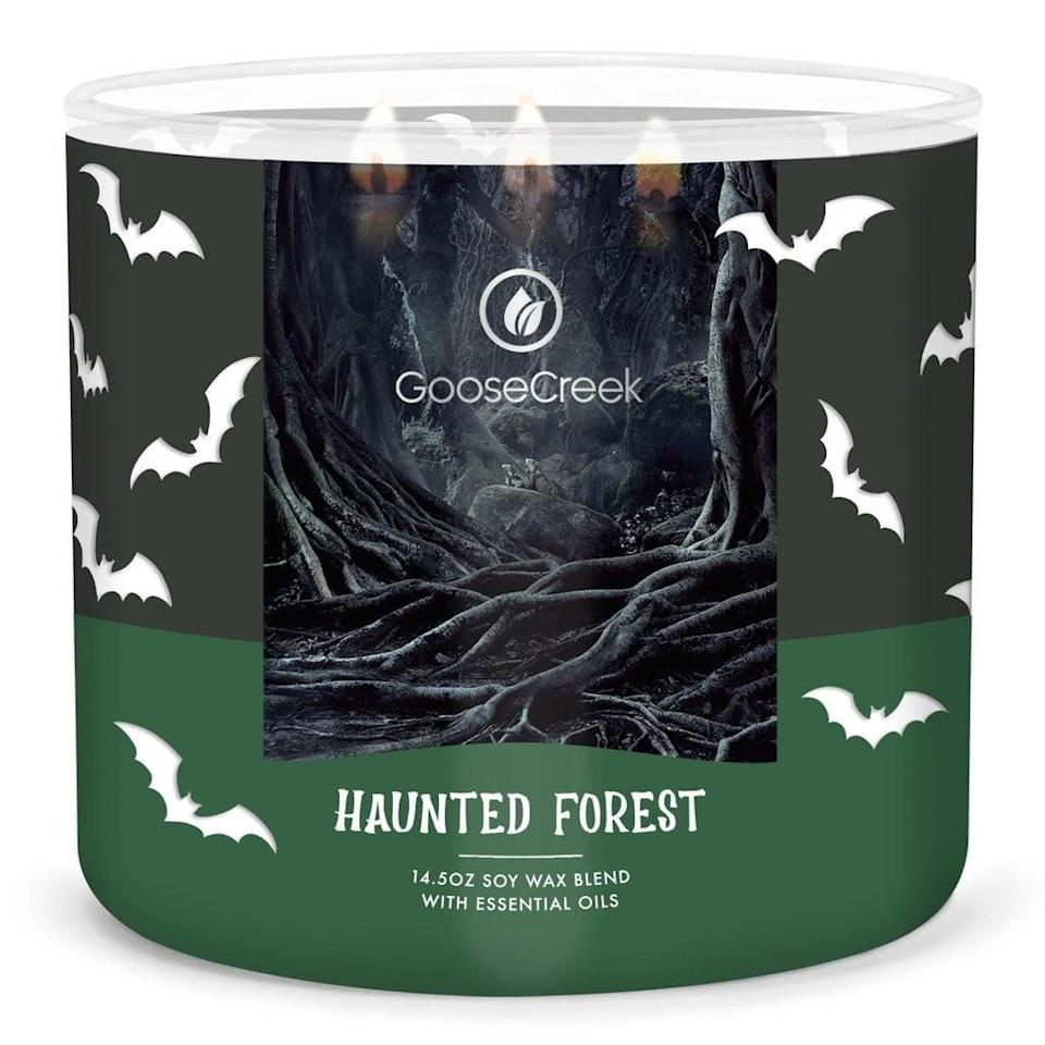 <p>This eerie <span>Goose Creek Haunted Forest Candle</span> ($12, originally $25) gives off aromas of bergamot, tobacco, rose, patchouli, amber, and wood. Turn on your favorite scary movie and set the mood with this ghostly candle.</p>