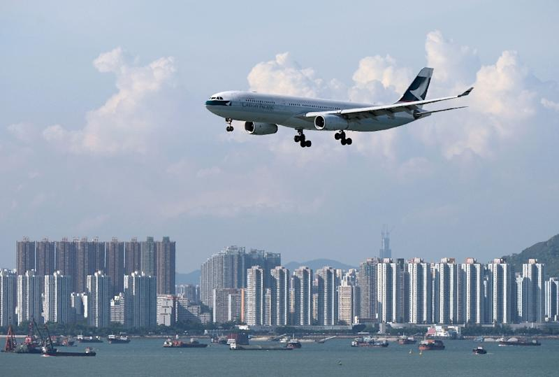 Cathay Pacific says net profit for the first six months of the year was up nearly sixfold but shares fell as the result missed expectations (AFP Photo/Dale de la Rey)