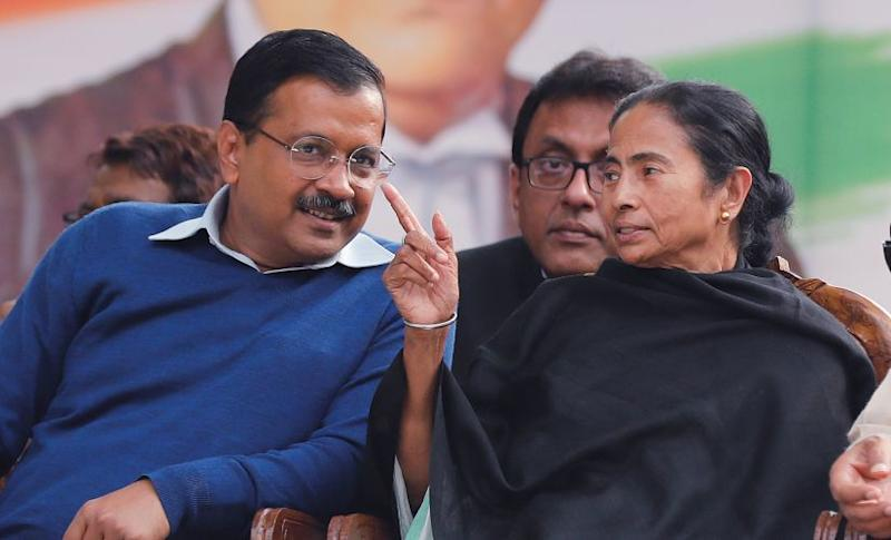 West Bengal chief minister Mamata Banerjee with her Delhi counterpart Arvind Kejriwal. Reuters