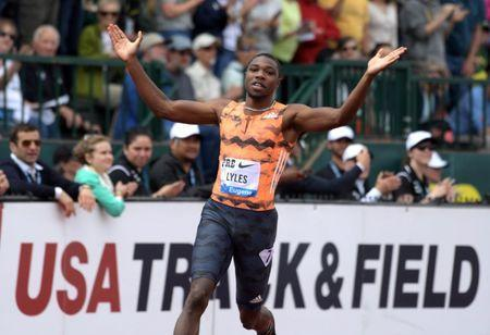 May 26, 2018; Eugene, OR, USA: Noah Lyles (USA) celebrates after winning the 200m during the 44th Prefontaine Classic in an IAAF Diamond League meet at Hayward Field. Mandatory Credit: Kirby Lee-USA TODAY Sports