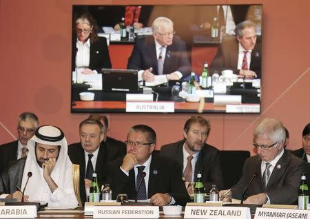 Saudi Arabia's Commerce and Industry Minister Al-Rabiah, Russia's Economic Development Minister Ulyukaev and New Zealand's Trade Minister Groser attend the G20 Trade Ministers meeting in Sydney