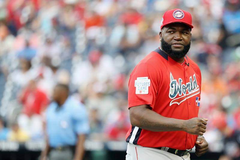 WASHINGTON, DC - JULY 15: Manager David Ortiz of the World Team looks on after a pitching change in the fourth inning against the U.S. Team during the SiriusXM All-Star Futures Game at Nationals Park on July 15, 2018 in Washington, DC. (Photo by Rob Carr/Getty Images)