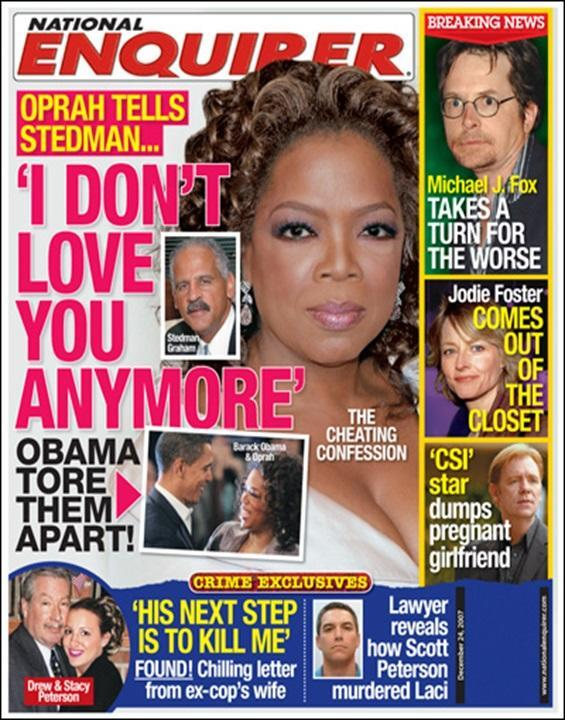 There has been more than one cover devoted to an Oprah, Stedman, Obama love triangle. (Photo: <em>National Enquirer</em>)