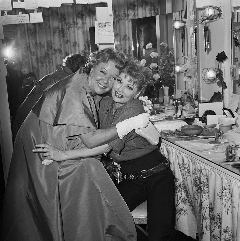 <p>In 1962, Lucille returned to TV permanently with <em>The Lucy Show, </em>which ran for six seasons and featured her <em>I Love Lucy </em>costar, Vivian Vance. Here, the actresses and friends are photographed in hair and makeup. </p>