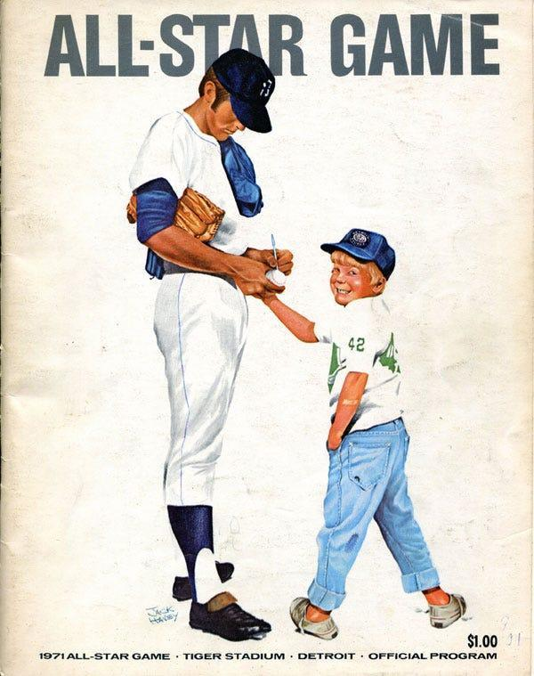 Official program for the 1971 MLB All-Star Game at Tiger Stadium in Detroit.
